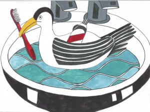 drawing of seagull in sink