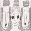 drawing of two sheep and a woman