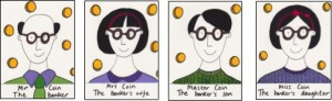 Speech therapy resources - the Coin family illustration