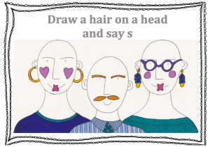 Speech therapy resource for saying 's' picture of 3 bald heads